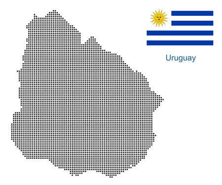 Map of Uruguay with black outline and grey fill, vector illustration
