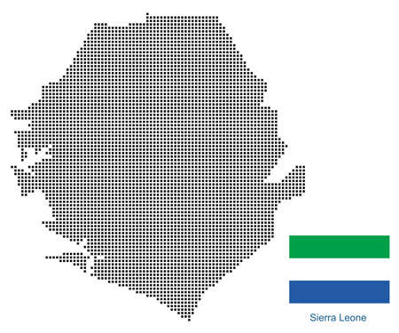 Map of SierraLeone with black outline and grey fill, vector illustration