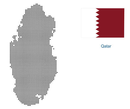 Map of Qatar with black outline and grey fill, vector illustration