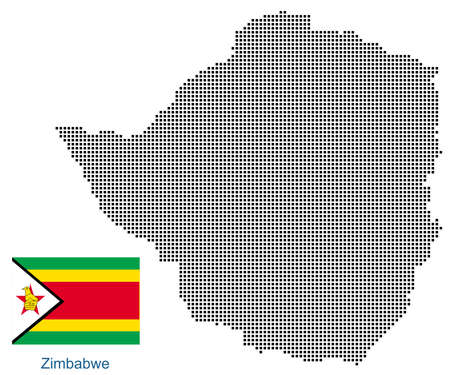 Map of Zimbabwe with black outline and grey fill, vector illustration