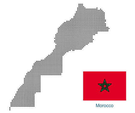 Map of Morocco with black outline and grey fill, vector illustration