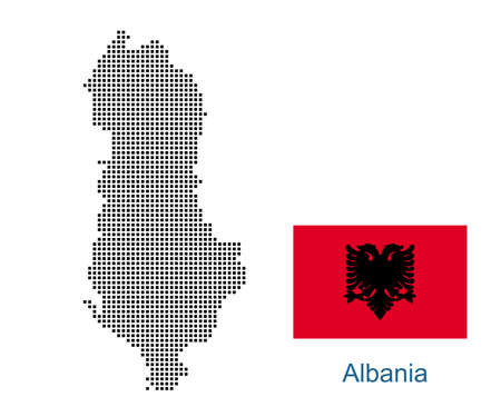 Map of Albania with black outline and grey fill, vector illustration