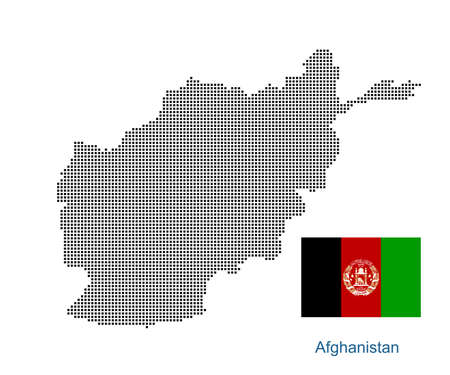 Map of Afghanistan with black outline and grey fill, vector illustration