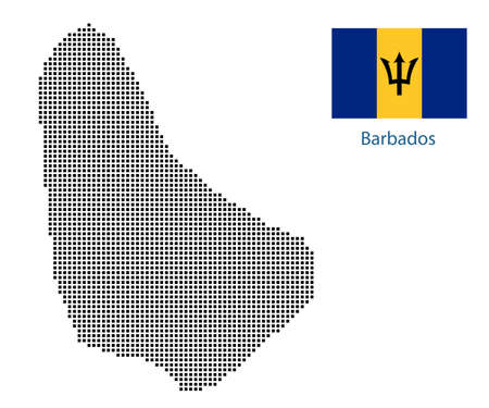 Map of Barbados with black outline and grey fill, vector illustration
