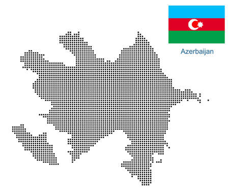 Map of Azerbaijan with black outline and grey fill, vector illustration