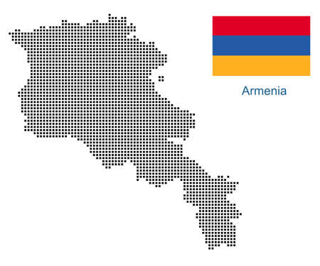 Map of Armenia with black outline and grey fill, vector illustration