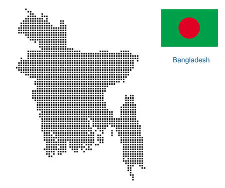 Map of Bangladesh with black outline and grey fill, vector illustration  イラスト・ベクター素材