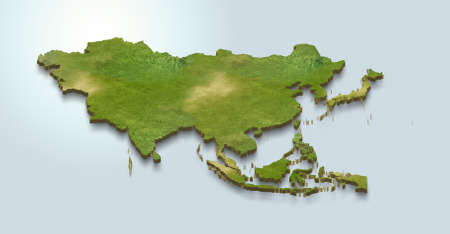 3D map illustration of asia