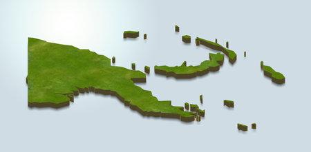 3D map illustration of Papua New Guinea