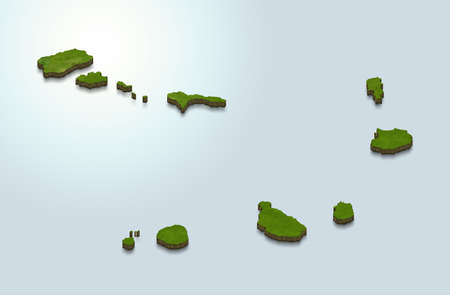 3D map illustration of Cape Verde