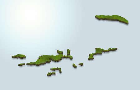 3D map illustration of British Virgin Islands