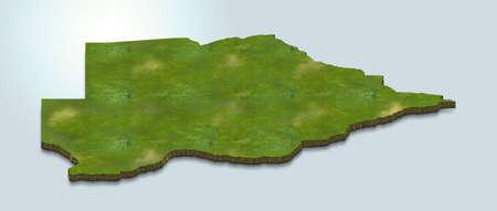 3D map illustration of Botswana 版權商用圖片