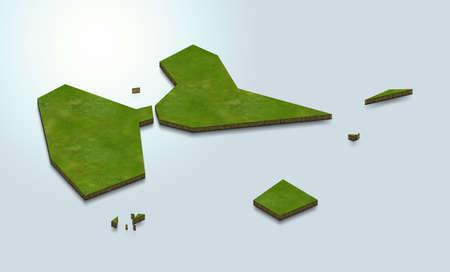 3D map illustration of Guadeloupe 版權商用圖片