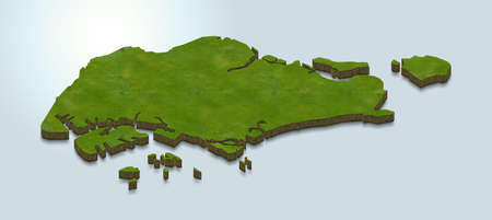 3D map illustration of Singapore