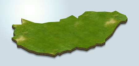 3D map illustration of hungary