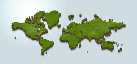 3D map illustration of world