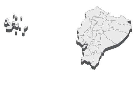 Map of Ecuador with black outline and grey fill, vector illustration