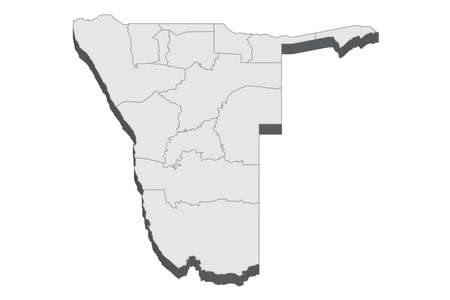 Map of Namibia with black outline and grey fill, vector illustration