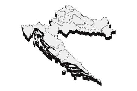 Map of Croatia with black outline and grey fill, vector illustration
