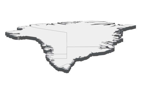 Map of Greenland with black outline and grey fill, vector illustration