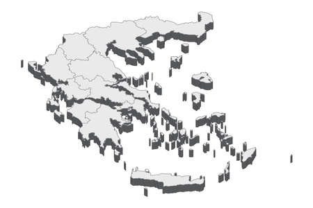 Map of Greece with black outline and grey fill, vector illustration  イラスト・ベクター素材