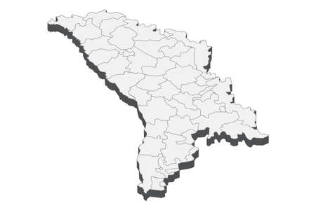 Map of Moldova with black outline and grey fill, vector illustration