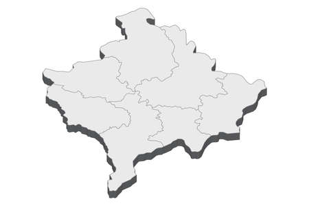 Map of Kosovo with black outline and grey fill, vector illustration  イラスト・ベクター素材