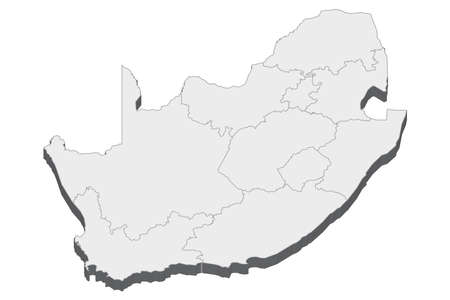 Map of South Africa with black outline and grey fill, vector illustration
