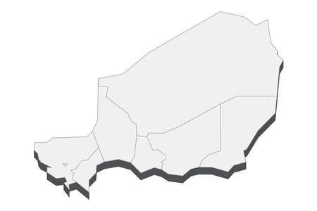 Map of Niger with black outline and grey fill, vector illustration