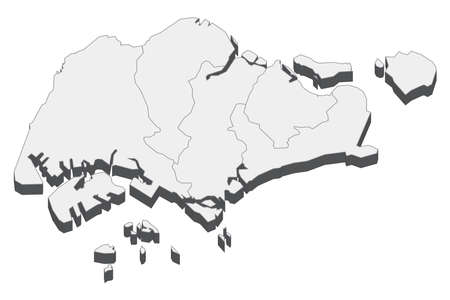 Map of Singapore with black outline and grey fill, vector illustration