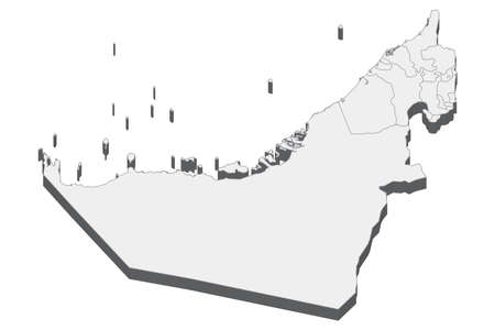 Map of United Arab Emirates with black outline and grey fill, vector illustration