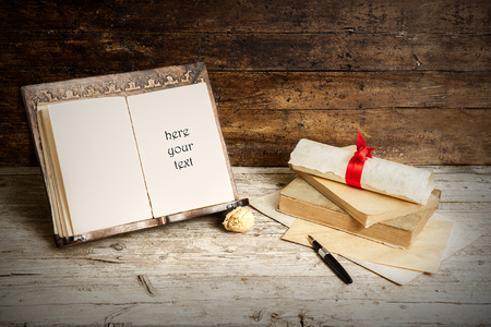 antique books: old books on old wood in retro style Stock Photo