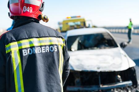 Staff of the fire brigade to intervene in a fire