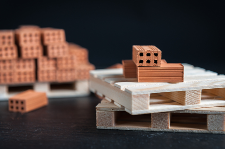 Clay bricks used for close-up miniature on black background