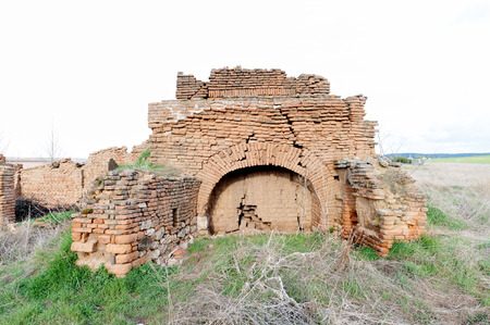 Kiln built with mud bricks collapsed by the passage of time
