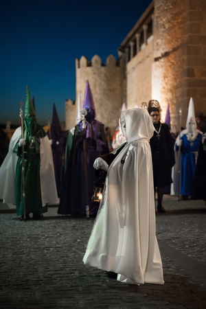 Procession of the morning in the city of Avila, Spain, held during Easter in April 2017
