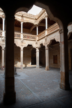 Interior of the patio of the known as House of the shells, in Salamanca, Spain