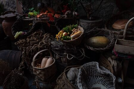 various foods in foreground in vertical photo darkened at their edges