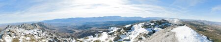MOUNTAIN PANORAMICA with snow in the foreground, monochromatic