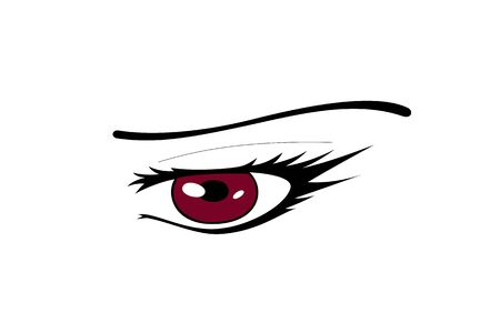 Red Manga Eye - Vector Graphic