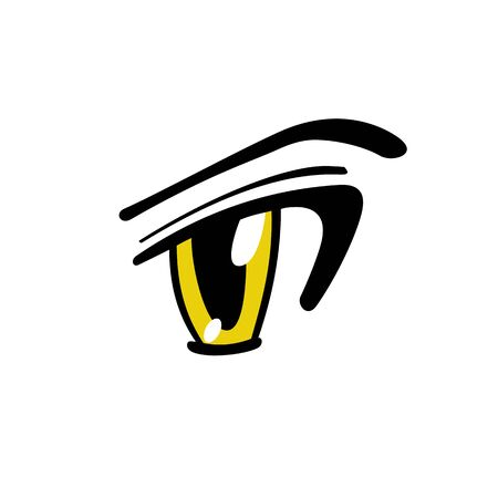 Yellow Manga Eye - Vector Graphic
