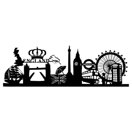 Silhouette of the famous sights in London - Cityscape of London with the Tower Bridge, Big Ben and London Eye
