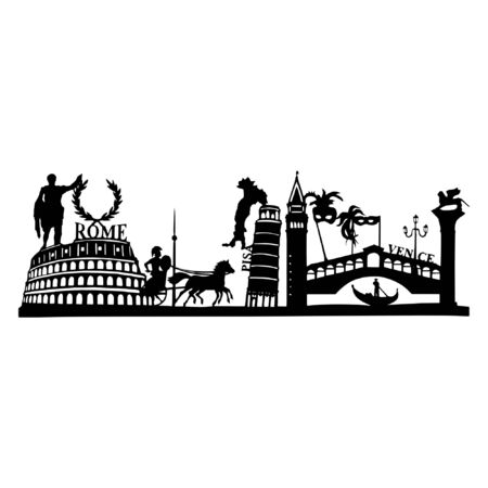 Silhouette of the famous sights in Italy - Pisa, Venice and Rome