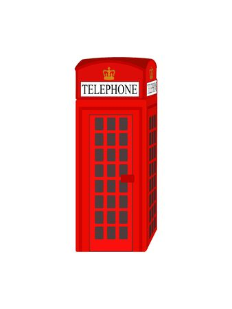 Traditional London Red Telephone Booth - Detailed Vector Graphic