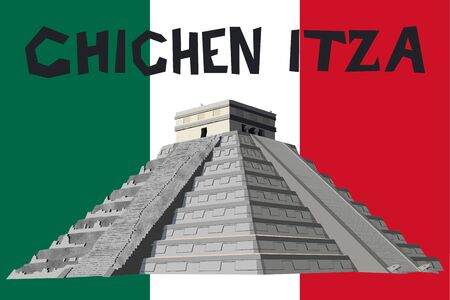 Detailed and naturalistic vector graphic of the Chichen Itza Pyramid on the Yucatan Peninsula, Mexico, Central America Ilustración de vector