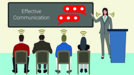 Effective communication is the key to success for any corporate presentation. Stock Illustratie