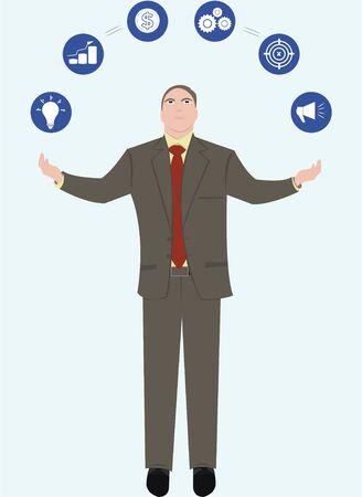 A businessman should use proper business strategies effectively. Vektorové ilustrace
