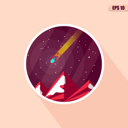 comet: Space landscape: stars, planets, comet, ufo, stardust. flat illustrations and background. flat design illustration of space icons. Illustration
