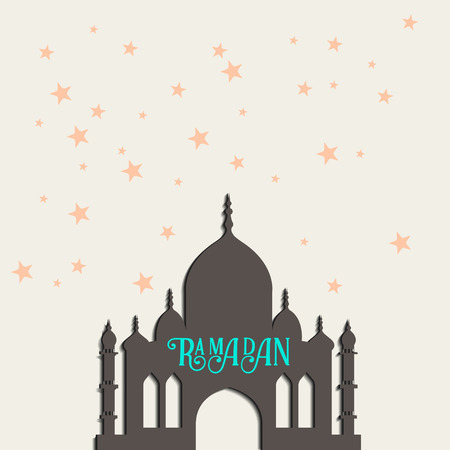 Ramadan greeting card with silhouette of mosque. multicolor seamless background. Ramadan Kareem. Creative design concept for muslim holiday