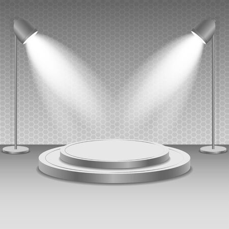 illuminate: Scene with spotlights. Two spotlights illuminate the podium with steps. Bright lighting illumination with isolated spotlights.